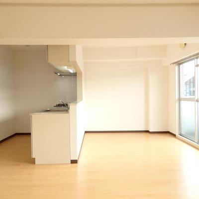 大きなカウンターキッチンと開放空間