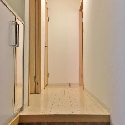 玄関からの眺め。右がお風呂。左手前がリビング、左奥がトイレ。