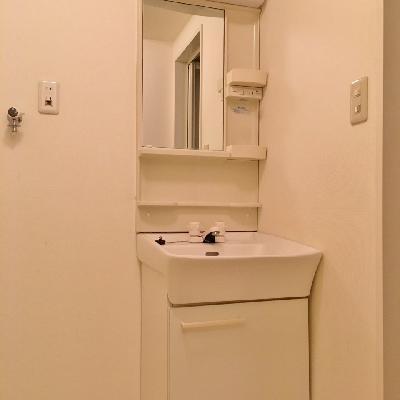 洗面台もコンパクト。
