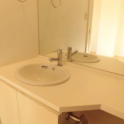 洗面台の鏡が大きい!