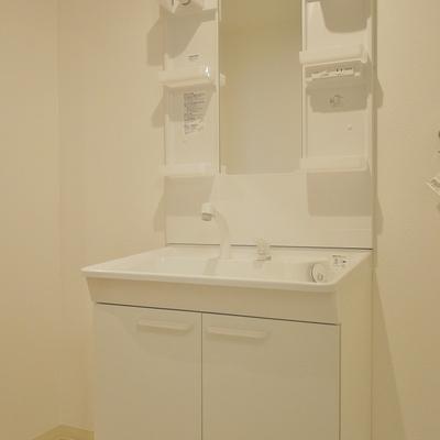 洗面台も新調済み。