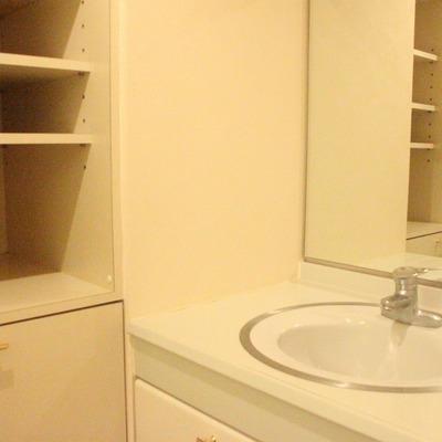 洗面所の棚は充実の収納力