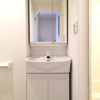 トイレと同じスペースにある独立洗面台
