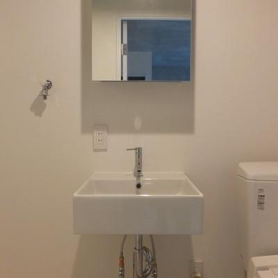 洗面台は収納ミラー。※写真は別部屋