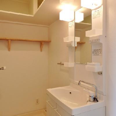 洗濯機置場の上の棚が便利です!