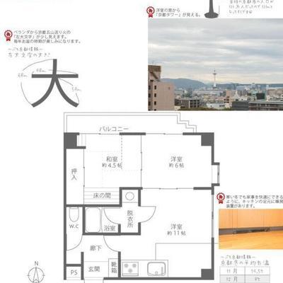 見えにくいですが、大きめ洋室(DK)+2部屋です