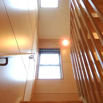 階段が明るく照らされています
