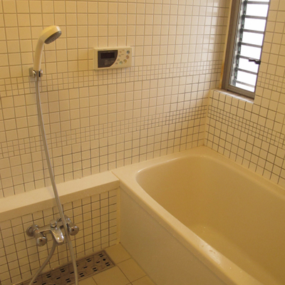 お風呂はガラス壁です(写真は別部屋)