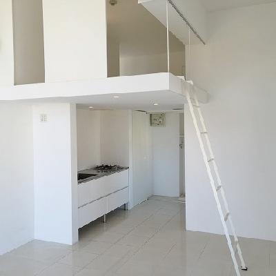 ロフト梯子は可動式で取り外しも掛ける場所も選べます。※写真は別部屋です