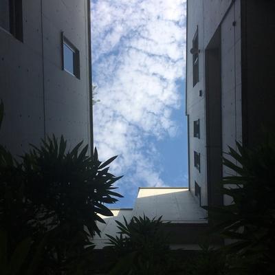 エントランスを見上げると青空。気持ちいいです
