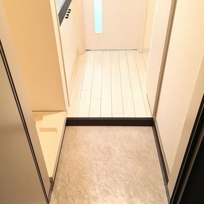 玄関、左が洗濯機置き場で右がシューズボックス