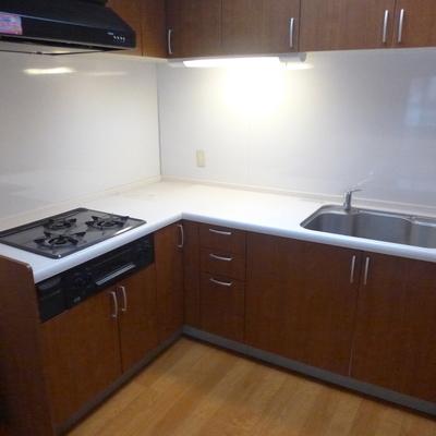 L字型で調理台も広いです