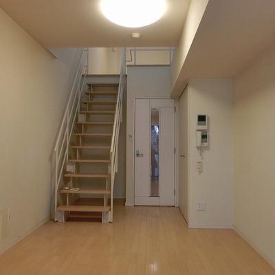 幅広の階段の下も収納スペースにできますね※写真は別部屋になります