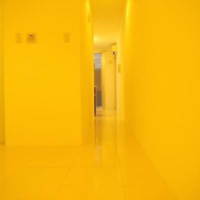 玄関からスーッと伸びる純白タイルの廊下と左手に居室空間