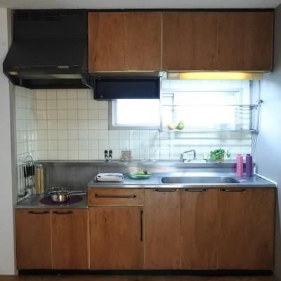 キッチンは既存に、木のパネルを貼りました