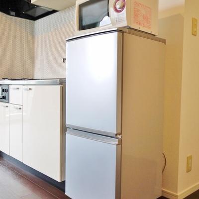冷蔵と電子レンジが備え付け。