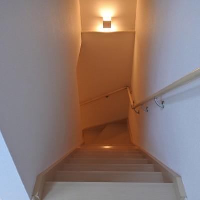 玄関から上がる階段。ちょっと狭目。