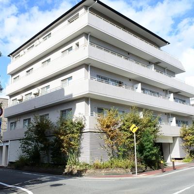 どっしりRCのマンション。1階は駐車場です。