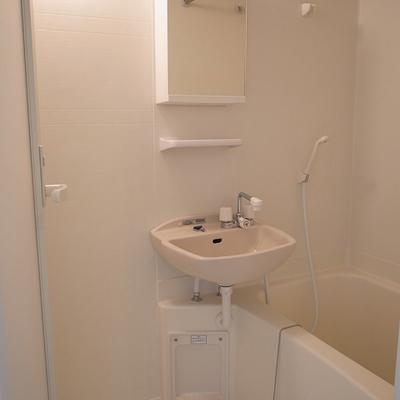 浴室乾燥機付きのお風呂、鏡の後ろが小物入れになってます。※写真は3階の同間取り
