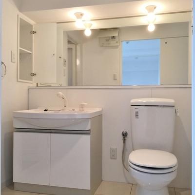 脱衣所には洗面台と大型の鏡!