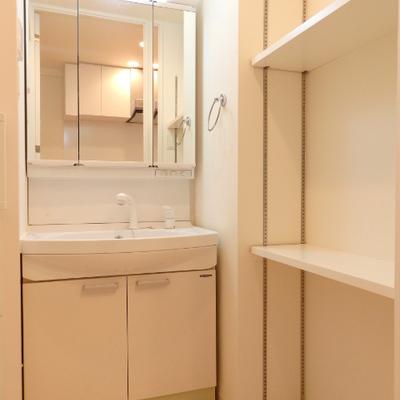 独立洗面台とタオルの置ける棚が嬉しい ※写真は別部屋です