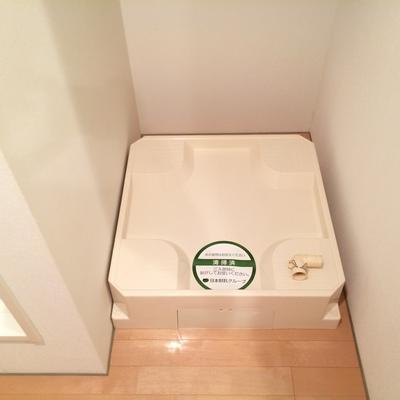 洗濯機置場は洗面台スペースにあります