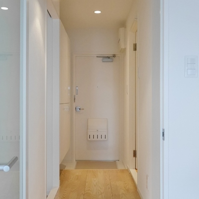 玄関もダウンライトで綺麗な作りです。チャント冷蔵庫やドラム洗濯機が運べる寸法を確保しています。
