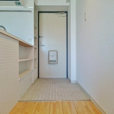 キッチンの反対側は収納○