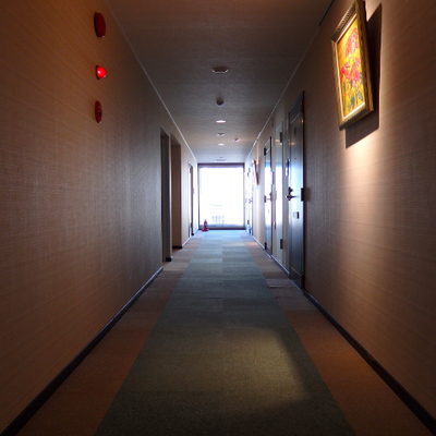 共有廊下がなんだかモダンティック