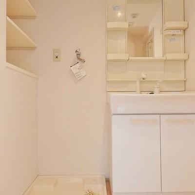 洗面台と洗濯機置き場。温泉の脱衣所みたいな床です!