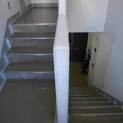 この階段をぐるぐる2階上ります。