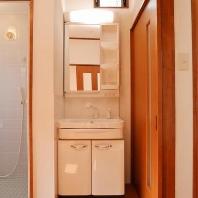 洗面台もいい感じに収まってます。