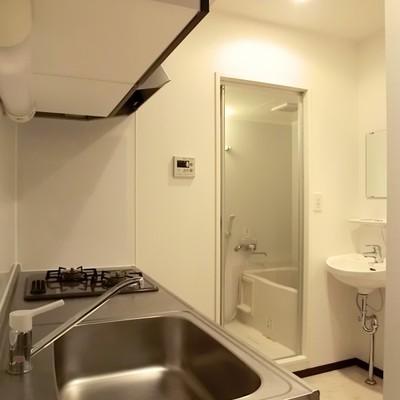洗面台はあそこ。
