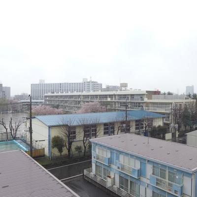 小学校が見えます。※写真は別部屋です