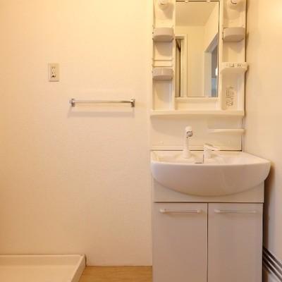 独立洗面台の隣に洗濯機