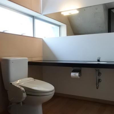 窓と鏡が綺麗にそろってるのがさすが。広すぎるトイレ。