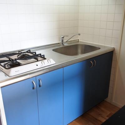 キッチンはガス2口でお料理楽しめます