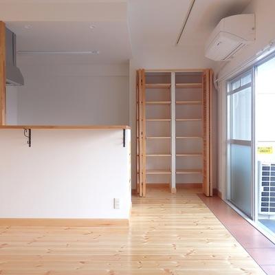 キッチン裏手には棚が付いています