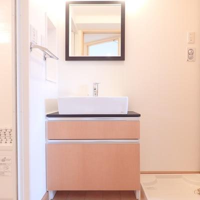 洗面台も可愛いです