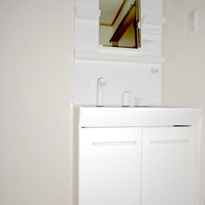 独立洗面台は新調※照明が点かず暗くてすみません