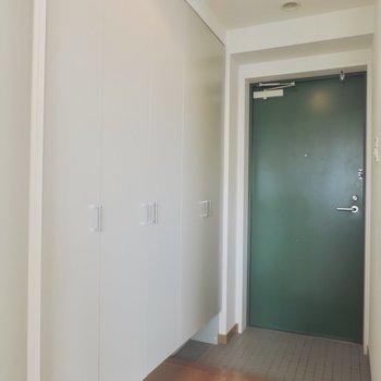 緑の扉がかわいいな※写真は5階の同間取り別部屋のものです