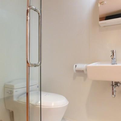 トイレ、洗面台、お風呂と狭いスペースに並んでいます
