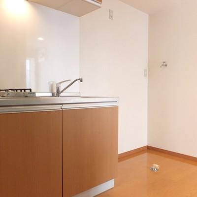 隣に冷蔵庫と洗濯機を置けるスペースがあります