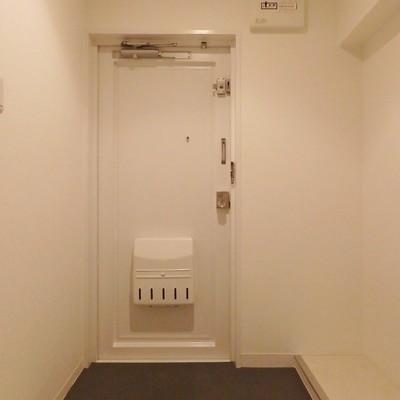 玄関はシックな色味。シューズボックスを置くスペースあり。
