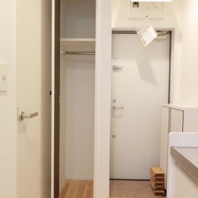 玄関横には靴箱&収納スペース※写真は別部屋