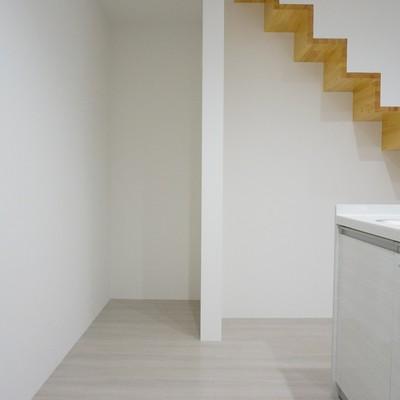 階段下も木目張りなので有効活用しましょう