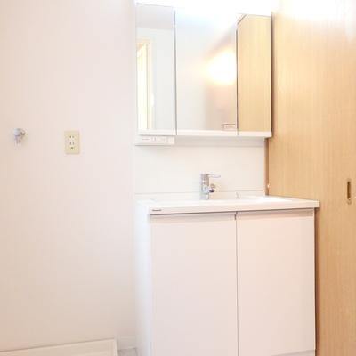 独立洗面台の横に洗濯機。※別部屋の写真です