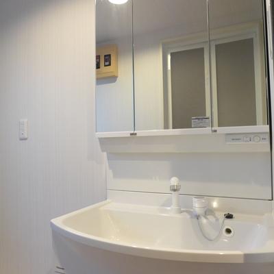 三面鏡月の大きな洗面台!