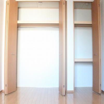寝室の壁一面を占める、大型クローゼット