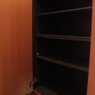 玄関収納。シューズボックスの上にも収納が配置されてます